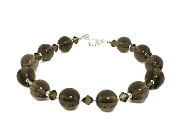 Brown Smokey Quartz & Swarovski Crystals Bracelet With Sterling Silver | Silver Sensations